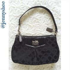 """{coach} madison optic art sateen top handle pouch 100% authentic coach purse. Madison optic art sateen top handle pouch with patent and brass hardware and a pleated front with a black leather top handle. Classy purple sateen lining with a brass coach embossed logo. One slit pocket, brassy dog leash clip to form wristlet or top handle.  Item #43265 9"""" x 5.5"""" x 3"""" Top handle 6.5""""  Gently worn, excellent condition. No trades please. Coach Bags Shoulder Bags"""