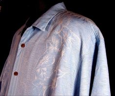 Tommy Bahama Hawaiian Camp Shirt Light Blue Hibiscus Size L EUC 100% Silk #TommyBahama #Hawaiian