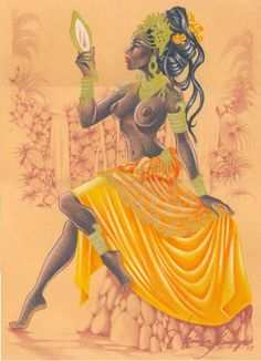 """divinemoon: """" ~ In Oshun's River by Becca Tzigany ~ Iba Oshun olodi! Praises to Orisha of the River! Spirit, clean me inside out Flush through my veins till I'm flowing Revive my body from a lonely. Black Girl Art, Black Women Art, Black Art, Art Girl, Oshun Goddess, Goddess Art, Orishas Yoruba, Yoruba Religion, African Goddess"""