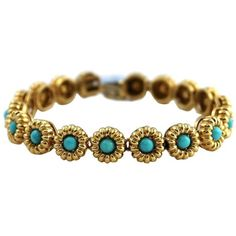 Pre-owned Vintage Tiffany & Co. 18K Yellow Gold Cabochon Turquoise... ($4,195) ❤ liked on Polyvore featuring jewelry, bracelets, 18k gold jewelry, gold jewelry, vintage gold jewelry, vintage bangle and vintage gold bangle