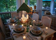 Green birdcage dining table display