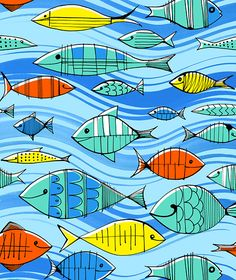 Margaret Berg Art: Summer+School+of+Fish