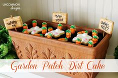 Garden Patch Dirt Cake.... so adorable! Dirt aka choc crunch available at www.theprettybaker.co.nz