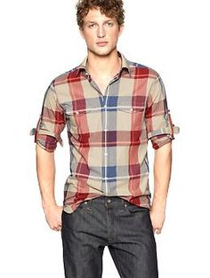 24809fc448234 Convertible madras plaid shirt (original fit)