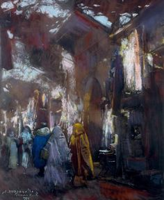 View Le souk aux tissus By Jacques Majorelle; x 20 in; City Painting, Figure Painting, Painting & Drawing, Marrakech, Raoul Dufy, Arabian Art, Academic Art, Amazing Drawings, Cool Paintings