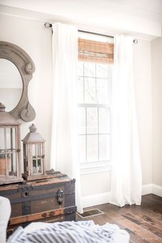 Stylish Budget Window Treatments | These window treatments make a statement with their combination of natural texture and light airiness.