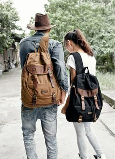 Canvas & Leather School Travel Rucksack Backpacks #canvasbackpack #canvasleatherbag