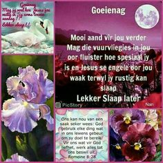 Evening Greetings, Afrikaanse Quotes, Goeie Nag, Morning Greeting, Good Night Quotes, Sleep Tight, Vietnam Travel, Blessings, Faith