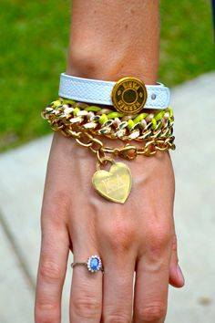 Hermes bracelet, neon chain bracelet, K∆ engraved gold heart bracelet... That arm party is gonna make this girl pinterest famous