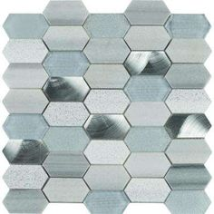 Harlow Picket 12 in. x 12 in. x 8 mm Glass Metal Stone Mesh-Mounted Mosaic Tile