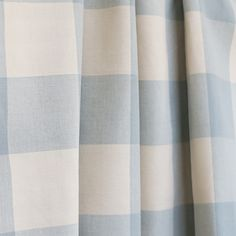 ***REMNANT*** This piece is long and wide A classic, spa-aqua blue buffalo check with natural cream. Light Blue Curtains, Drapes And Blinds, Roman Blinds, Boys Bedroom Curtains, Bedrooms, Gingham Curtains, Buffalo Check Curtains, Blue And White Fabric, Check Fabric