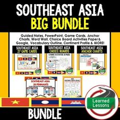 Southeast Asia BUNDLEVISIT MY STORE AND FOLLOW TO GET UPDATES WHEN NEW RESOURCES ARE ADDED THIS IS ALSO PART OF A WORLD GEOGRAPHY MEGA BUNDLE TO SAVE $$$   INCLUDES THE FOLLOWING 55 Southeast Asia Anchor Charts (Great For Bellringers, Bulletin Boards, and Word Walls)Southeast Asia Choice Board Activities (Google Drive and Paper Versions)Southeast Asia I Have, Who Has Game CardsSoutheast Asia Word Wall PennantsAsia Continent Profile ProjectTeacher and Student Guided Notes (Word and…