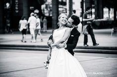 Reportajes de recién casados.  Foto en blanco y negro.