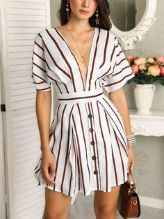 Vertical Stripes Plunge Button Design Casual Dress Women's Best Online Shopping - Offering Huge Discounts on Dresses, Lingerie , Jumpsuits , Swimwear, Tops and More. Simple Dresses, Casual Dresses For Women, Trendy Outfits, Fashion Outfits, Clothes For Women, Womens Fashion, Simple Dress Casual, Fashion Clothes, Fashion Over 40