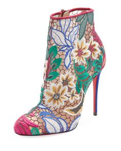 bcb4bfd710e Miss Tennis Embroidered Red Sole Bootie by Christian Louboutin at Bergdorf  Goodman.