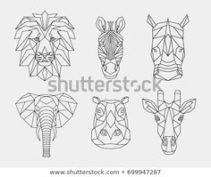Set polygon animals from Africa. The geometric heads of a lion rhino zebra's giras Related posts: Safari nursery decor. There are 4 baby safari animals: lion cub, zebra, giraffe … … Geometric Drawing, Geometric Art, Geometric Animal, Geometric Giraffe Tattoo, Lion Origami, Deco Tape, Lion Drawing, Giraffe Drawing, Afrique Art