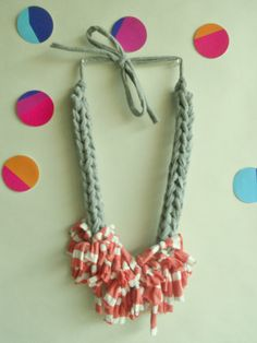 ARTEMISchunky crocheted  necklace with  grey T by MerakibyStevie, $23.00