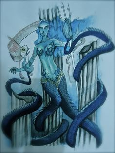 Mixoparthenos - To be found in the waters of the Black Sea, these double-tailed merfolk were often spoken about in the mythology of the ancient Greeks, but have since become confused with the melusina in modern times. They resemble human women from the waist up, but then have two long and slimy fish tails. These tails are so long that they can be used as prehensile limbs.