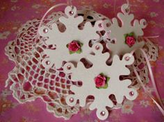 Snowflake Ornaments Hand Painted  Shabby chic Pink by pinkrose1611, $14.00