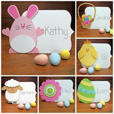 Easter Place Cards by Kathy Skou (using cutting files & font by Lori Whitlock). Easter Crafts, Holiday Crafts, Easter Ideas, Holiday Fun, Easter Templates, Diy Place Cards, Table Name Cards, Easter Table, Easter Placemats