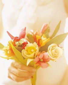 Flores de papel para um bouquet...