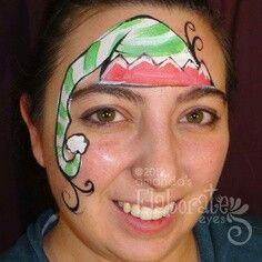 Maquillage bonnet de lutin de Noël / Cute elf hat Christmas face painting  idea. Maquillage