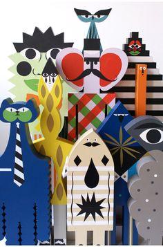 personnages en bois peint par severin millet