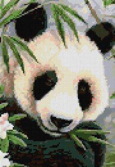 Panda, free pattern from cross-stitch-pattern.net