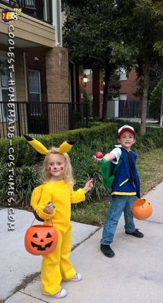 coolest homemade pokemon halloween costumes for kids ash ketchem and pikachu costumes