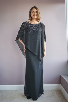 JASMINE BLACK LABEL | Fall 2020 M220051 Jade Chiffon Relaxed Shaped Dress with Attached Asymmetrical Caplet Top with Crystals Mob Dresses, Event Dresses, Plus Size Dresses, Bridesmaid Dresses, Wedding Dresses, Mother Of The Bride Dresses Long, Mother Of Bride Outfits, Mother Of The Bride Plus Size, Chiffon Dress