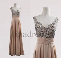 Custom Champagne Beaded Long Bridesmaid Dresses 2014 Prom Dresses Fashion Party Dresses Evening Gowns  Homecoming Dresses Evening Dresses