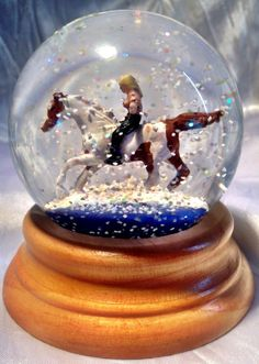 """Custom painted snow globe """"Michelle & Dodger's Ultimate Beach Ride"""" from www.QueenOfSnowGlobes.com"""