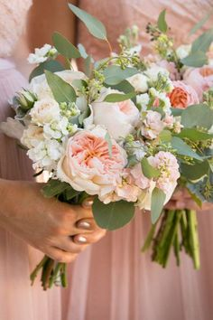 Blush bouquet idea - garden roses, peonies + greenery {Tracy Autem & Lightly Photography}