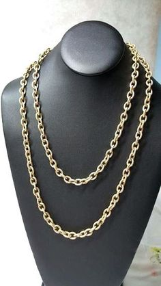 """Vintage Medium Wide Gold Tone Link Chain Necklace 48"""" #Chain"""