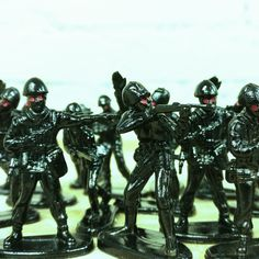 Army of darkness! That is, a bag of toy soldiers painted gloss black and finished with red eyes.