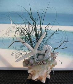 Conch Shell Coastal CenterpieceBeach Grass Starfish Seahorse
