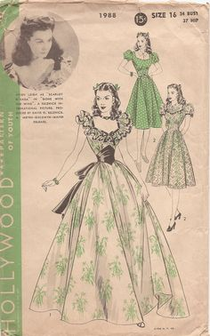 """Hollywood Pattern featuring Vivien Leigh as """"Scarlet O'Hara"""" in """"Gone with the Wind"""". A Selznick International Picture. Produced by David O. Selznick. A Metro-Goldwyn-Mayer Release.  Size 16 : Bust 34; Hip 37"""
