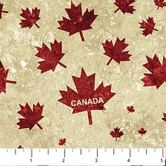 Stonehenge - Oh Canada II - Red Maple Leaves (Text) on Beige - Sew Sisters Online Store featuring quilt fabric, Block-of-the-Month programs, Quilt Kits, Patterns, Books and Notions. Canadian Quilts, Canada Maple Leaf, Canada 150, Quilt Of Valor, Stonehenge, Store Displays, New Pins, Printing On Fabric, Quilt Patterns