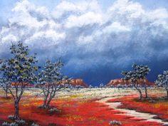 The Central Australian desert waits for the rain. Pastel painting by Sian Butler.