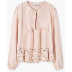 MANGO Blonda Panel Blouse ($60) ❤ liked on Polyvore featuring tops, blouses, embellished v neck top, mango blouse, pleated blouse, v neck tops and long sleeve v neck top