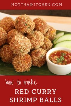 Enjoy this easy appetizer recipe!These shrimp balls are flavoured with Thai red curry paste, coated in panko breadcrumbs and fried until crispy on the outside and tender and juicy on the inside. Served with a sweet chili dipping sauce and this will be the most popular appetizer at your next meal!|how to make shrimp balls|how to cook Thai food | appetizer recipe for party Easy Asian Recipes, Easy Appetizer Recipes, Healthy Appetizers, Indian Food Recipes, Seafood Dishes, Seafood Recipes, Red Curry Shrimp, Shrimp Balls, How To Make Shrimp