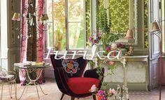 Sillón estilo retro vintage Mariposa Bordado