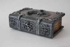 Купить Фолиант- шкатулка Pegasus - подарок мужчине, серебряный, фолиант, шкатулка для мужчины, шкатулка-купюрница