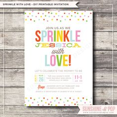 Printable Baby Sprinkle Shower Invitation - Sprinkle with Love - Baby Boy or Girl Shower  DIY Invite  Sip See Shower with Love on Etsy, $16.00