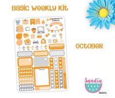 Basic Weekly Kit, Planner Stickers, perfect for Planners, Erin Condren, Plum Paper, Happy Planner, Filofax, Kikki.k... de SandiaStickers en Etsy