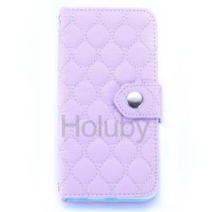 Grid Pattern Card Holder Flip Stand PC+ PU Leather Case for iPhone 6S/ 6 - Light Purple