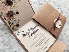 Wedding Invitation Card Design, Creative Wedding Invitations, Wedding Stationery, Party Invitations, Wedding Prep, Diy Wedding, Wedding Gifts, Floral Save The Dates, Karten Diy