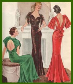 McCall 8437 (green and brown evening dresses, after Nina Ricci) and 8421 (red dress) patterns in 1935 ca.