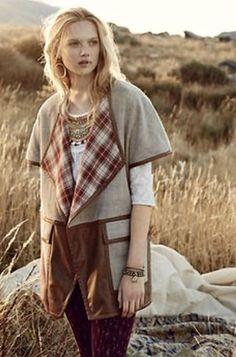 NEW Anthropologie Elevenses Oversize vegan leather plaid Vest Jacket XS / S $188 #Elevenses #vestjacket #versatile