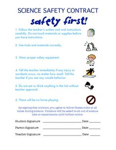 Attractive Hereu0027s A Simple Science Safety Contract. This One Has 6 Basic Rules Great  For Elementary Idea